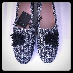 NWT Zara Fabric Sneakers with Floral Detail.